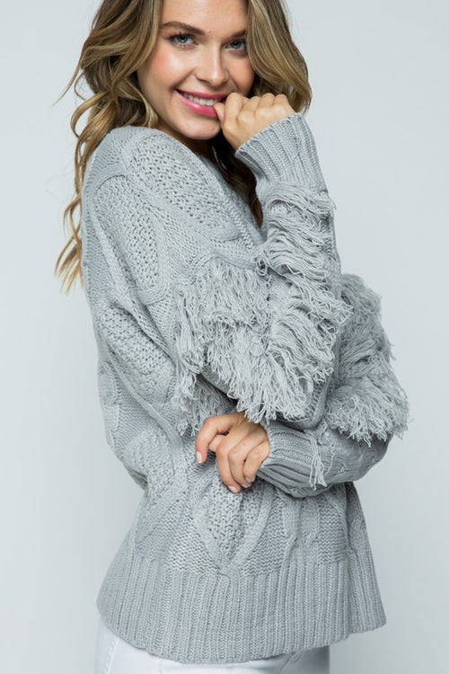 Festive Fringe Sweater in Grey