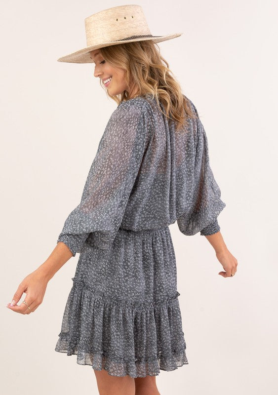 Allison Smocked Print Dress in Grey