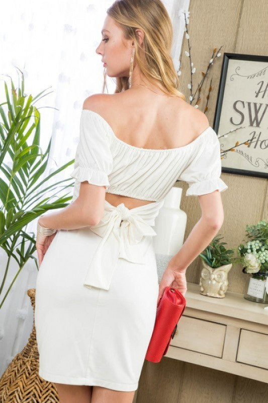 Anna Open Back White Dress