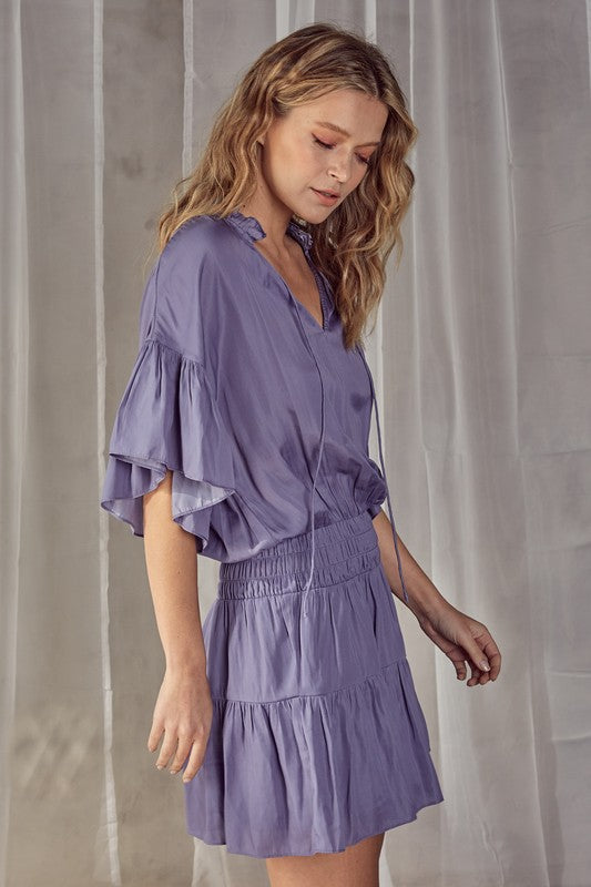Alyssa Smocked Dress in Orchid Mist