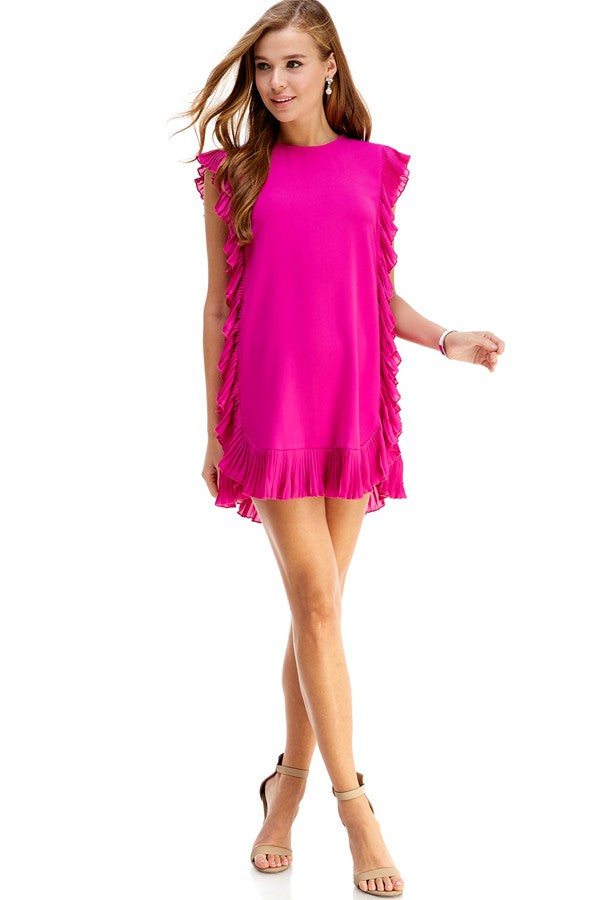 Yours Truly Ruffle Dress in Magenta