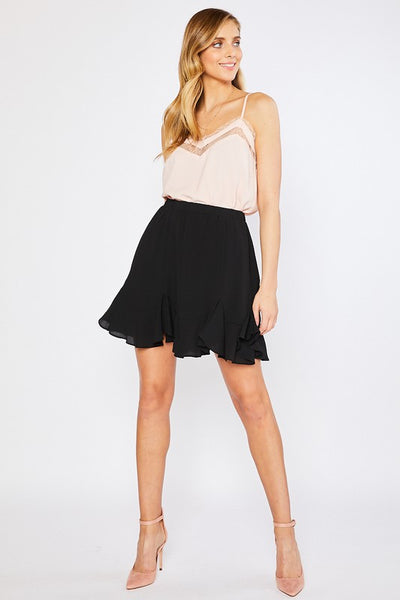 In The Moment Black Ruffle Skirt