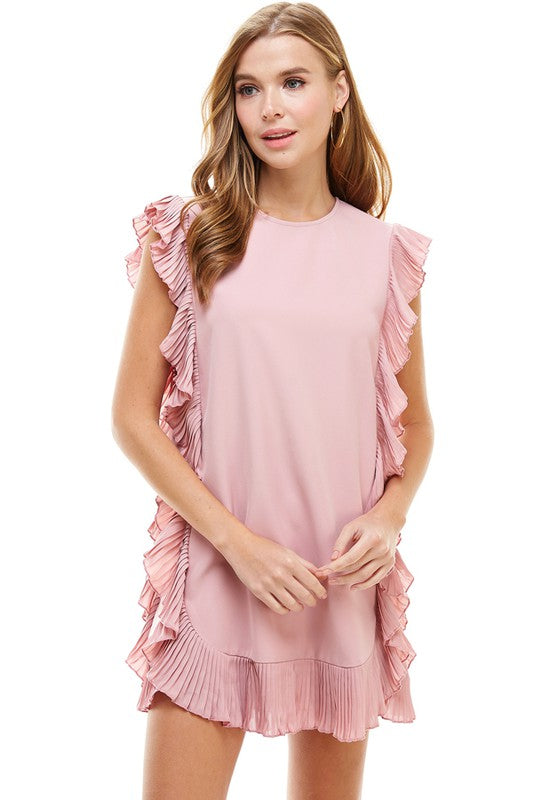 Yours Truly Ruffle Dress in Blush