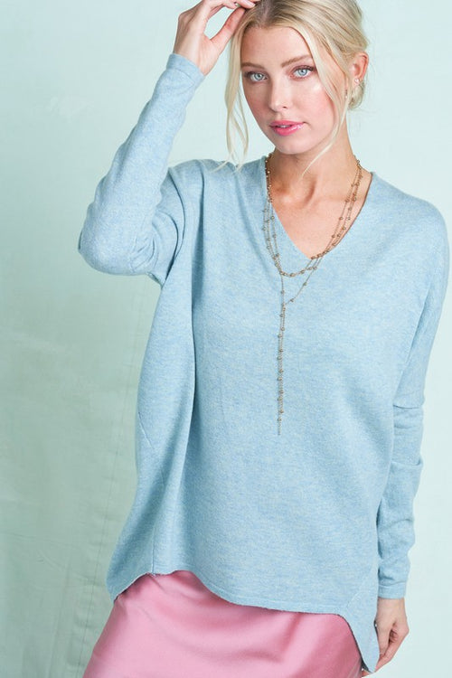 Anytime Slouchy Sweater Top in Sky Blue Mix