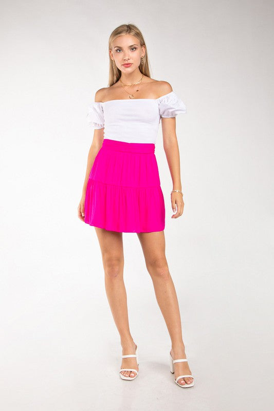 Turning Heads Mini Skirt in Hot Pink