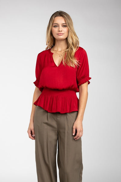 Samantha Smocked Blouse in Ruby