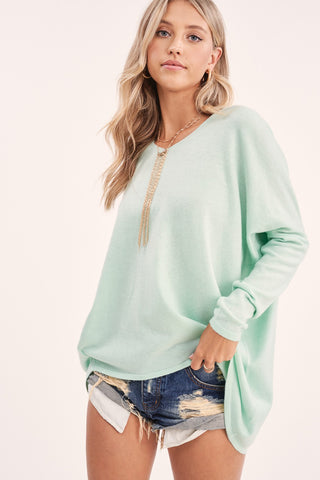 Anytime Slouchy Sweater Top in Mint