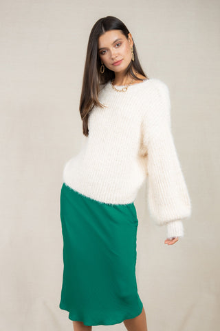 Snowfall Fuzzy Balloon Sleeve Sweater