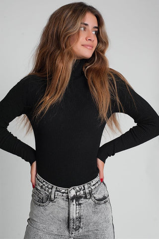 Tasha Turtleneck Sweater in Black