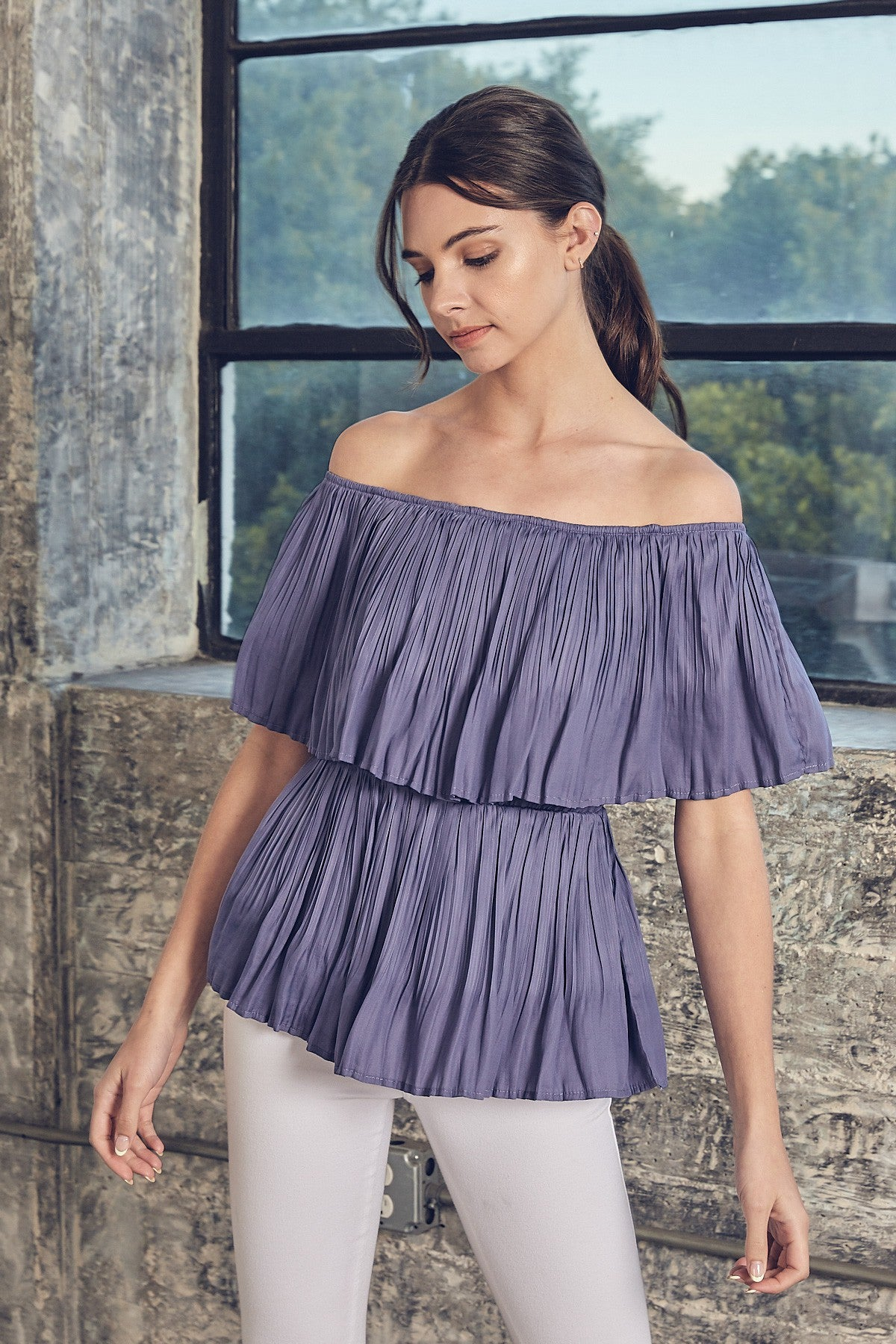 Orchid Blooms Off Shoulder Top