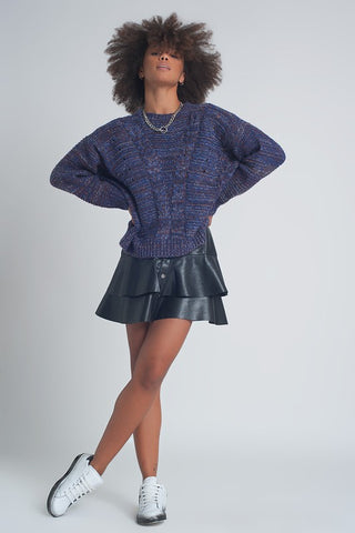 Carmin Cable Knit Sweater in Purple