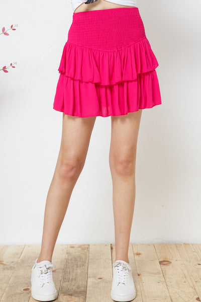 Sweetheart Smocked Ruffle Skirt in Hot Pink
