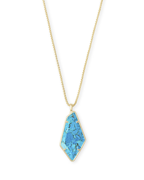 Kendra Scott Lilith Long Pendant Necklace in Bronze Veined Turquoise