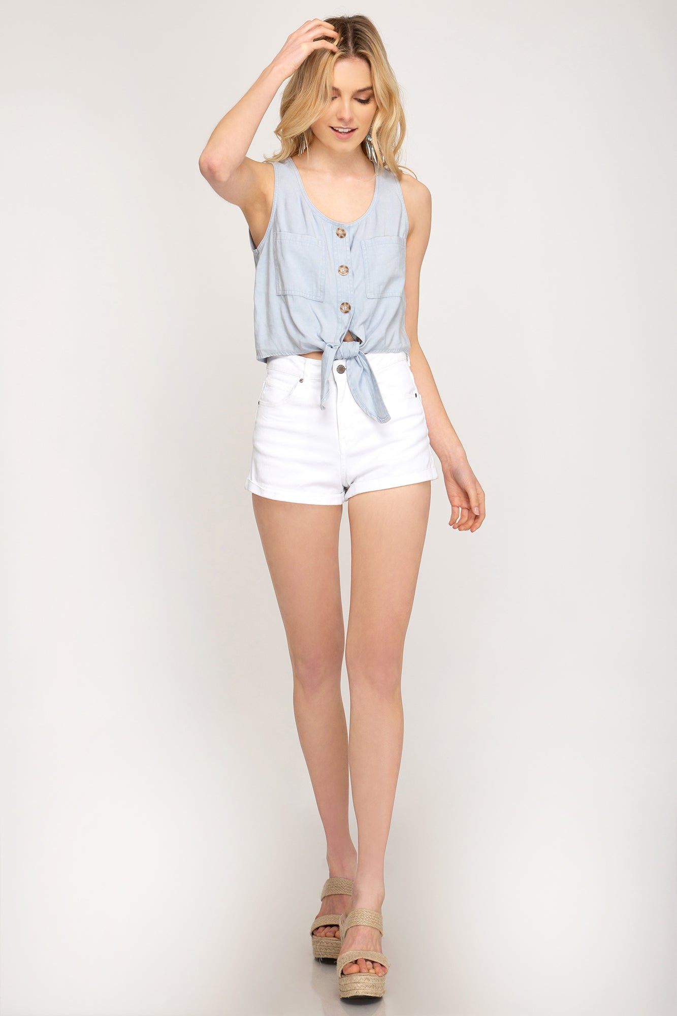 Campfire Crop Top in Light Blue
