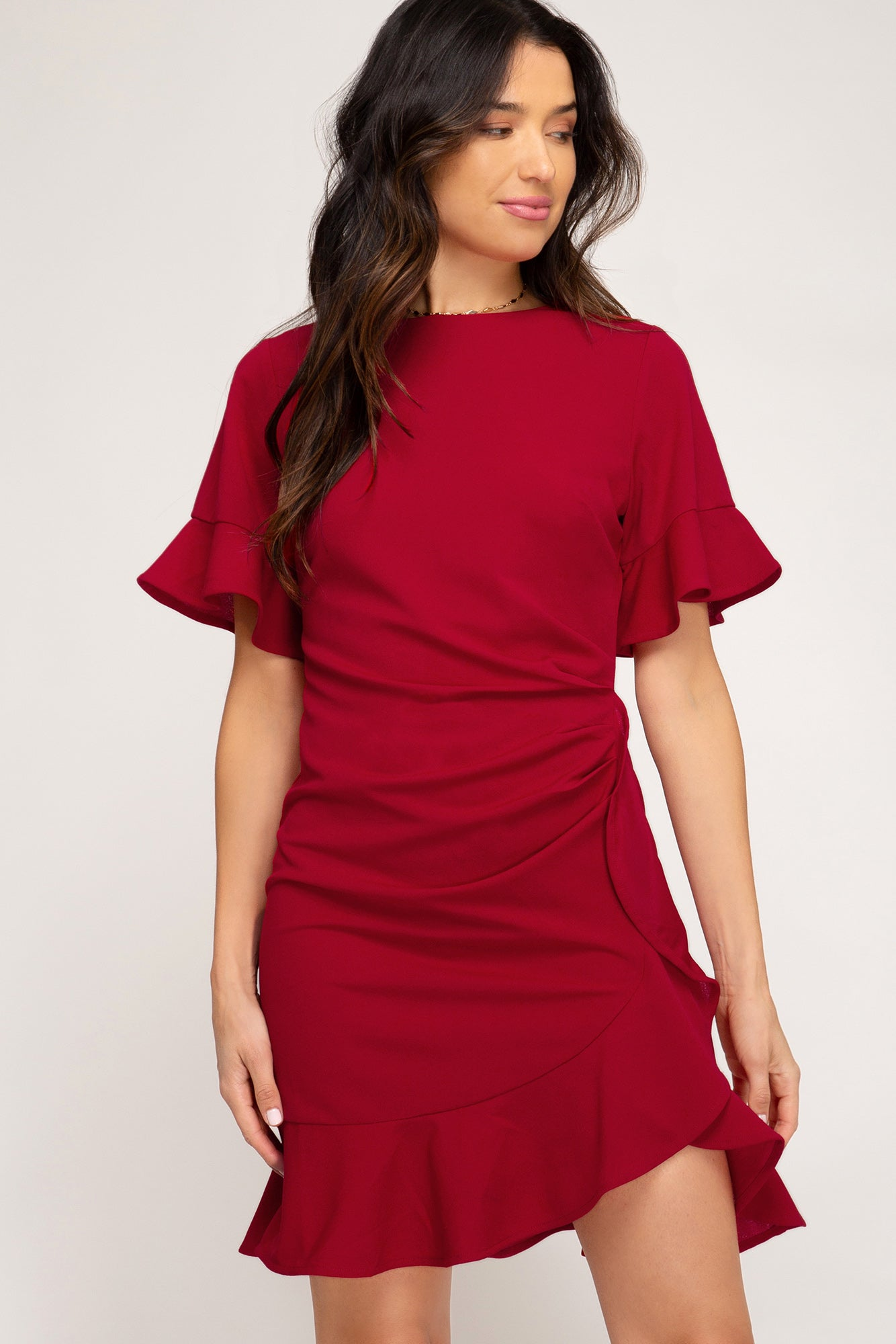 Spectacular Ruffle Dress in Red
