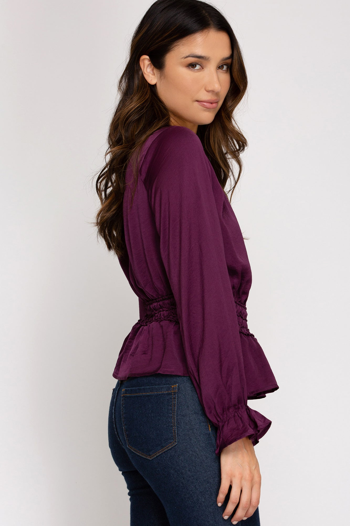 Stephanie Smocked Blouse in Plum