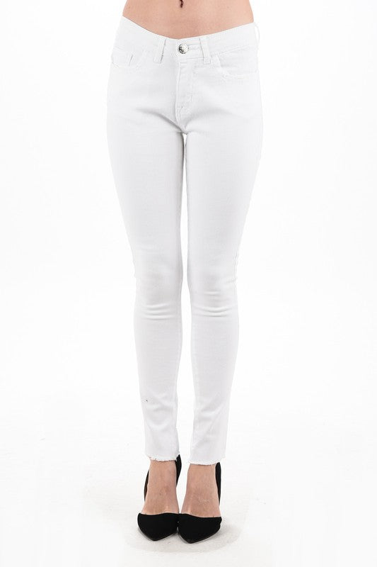 Palm Springs White Frayed Bottom Jeans