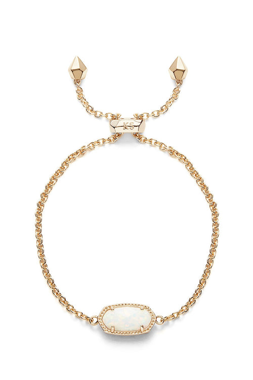 Kendra Scott Elaina Gold Adjustable Chain Bracelet In White Kyocera Opal