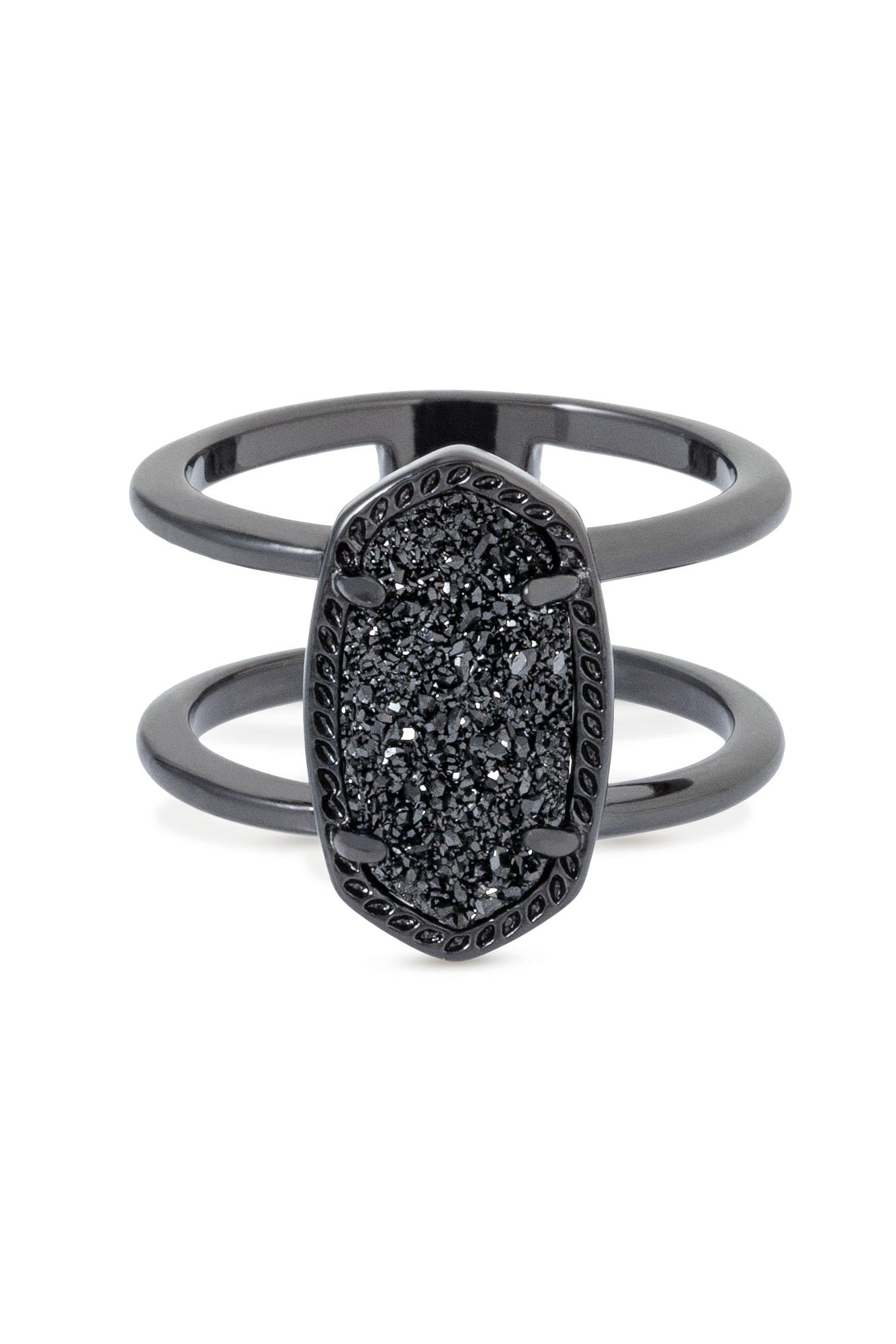 Kendra Scott Elyse Ring in Gunmetal and Black Drusy