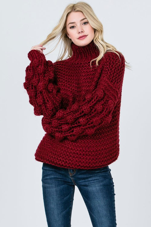 Deck the Halls Ball Sleeve Sweater in Burgundy