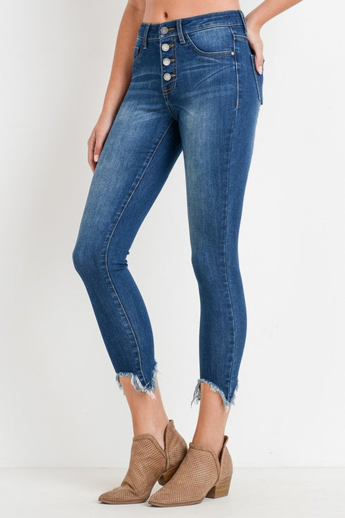 Hollywood High Waist Frayed Jeans