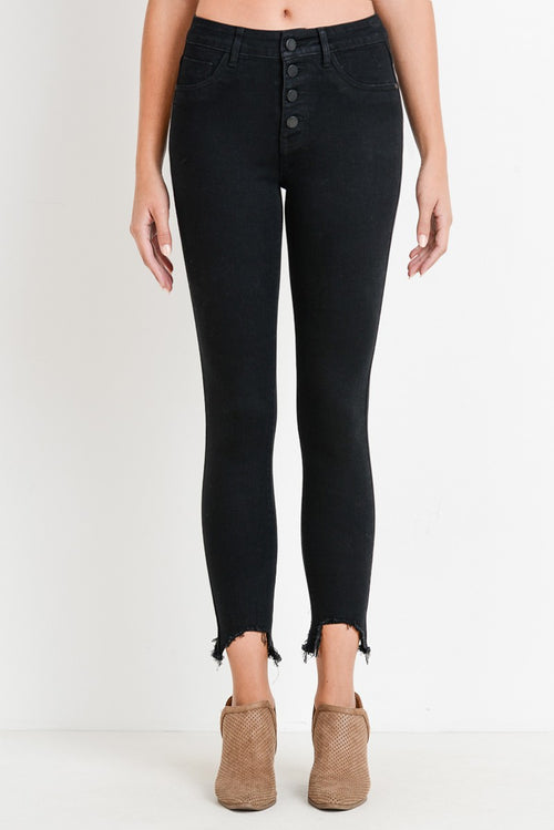 Hollywood High Waist Frayed Jeans in Black