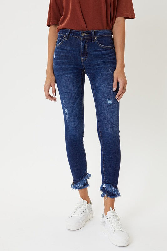 Houston Mid Rise Frayed Jeans