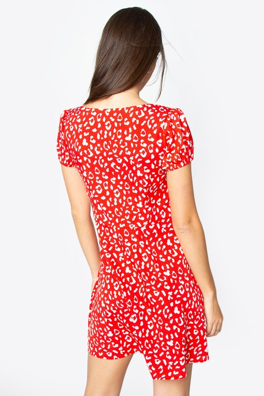 Young at Heart Leopard Print Red Dress