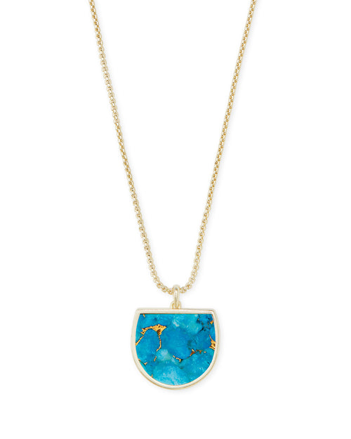 Kendra Scott Luna Pendant Necklace in Bronze Veined Turquoise