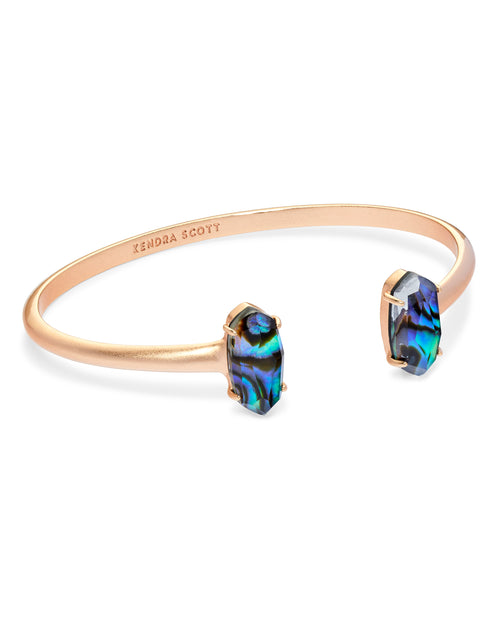Kendra Scott Edie Rose Gold Cuff Bracelet In Abalone Shell