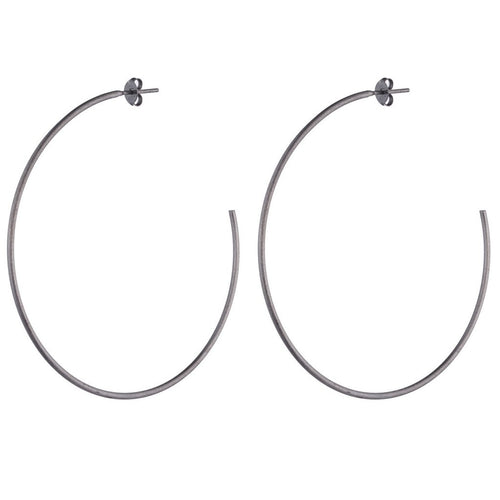 SHEILA FAJL Jillian Hoop Earrings in Gunmetal