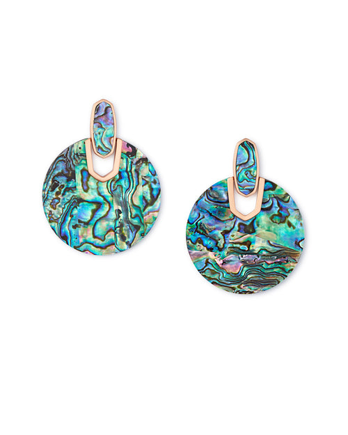 Kendra Scott  Didi Rose Gold Statement Earrings in Abalone Shell