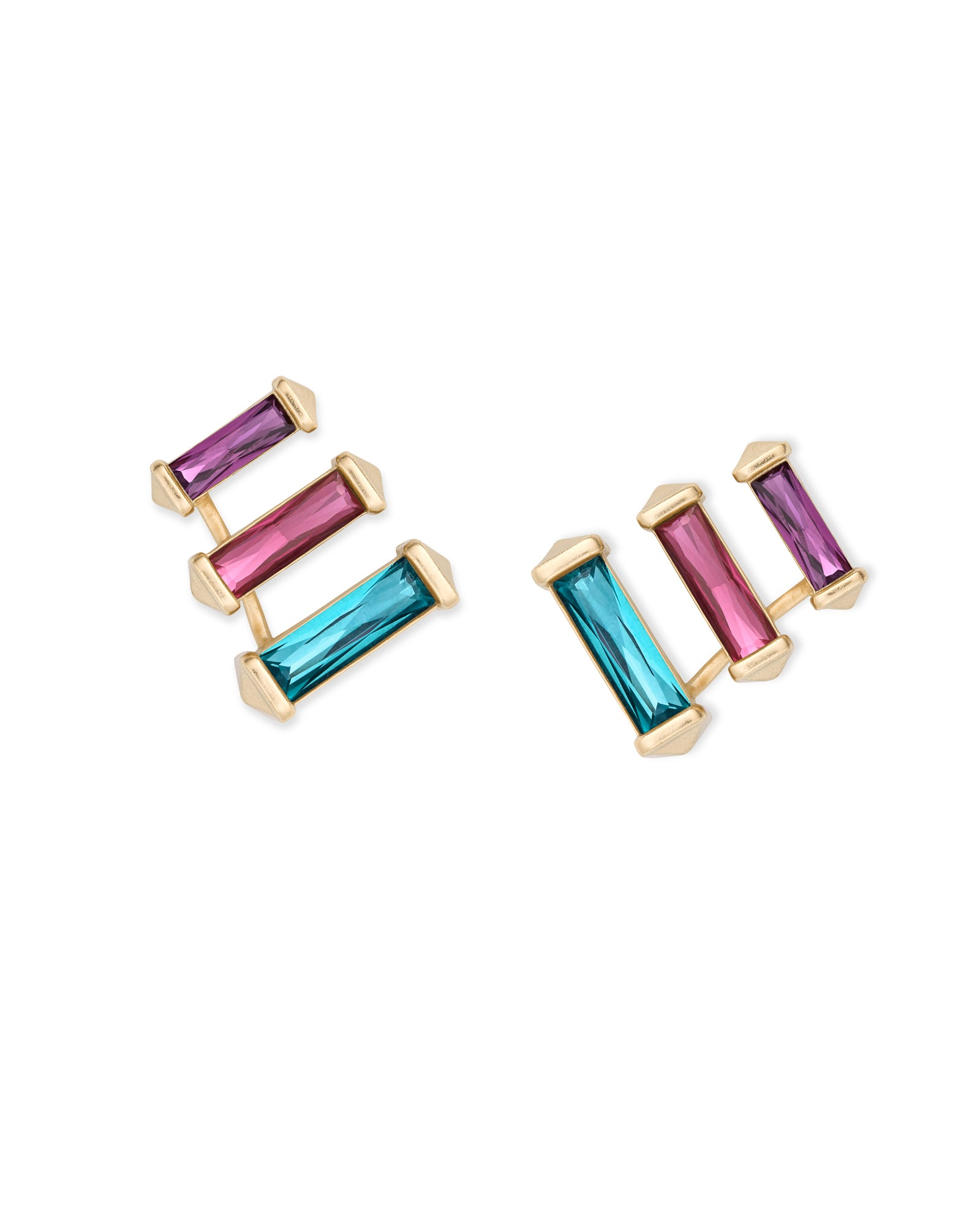 Kendra Scott Brooks Gold Ear Climbers In Jewel Tone Mix