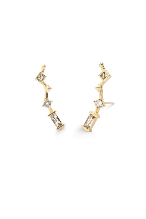 Kendra Scott Sutton Gold Ear Climbers In Smoky Mix
