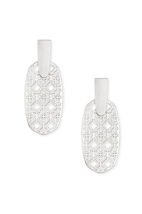 Kendra Scott Aragon Bright Silver Drop Earrings In Bright Silver Filigree