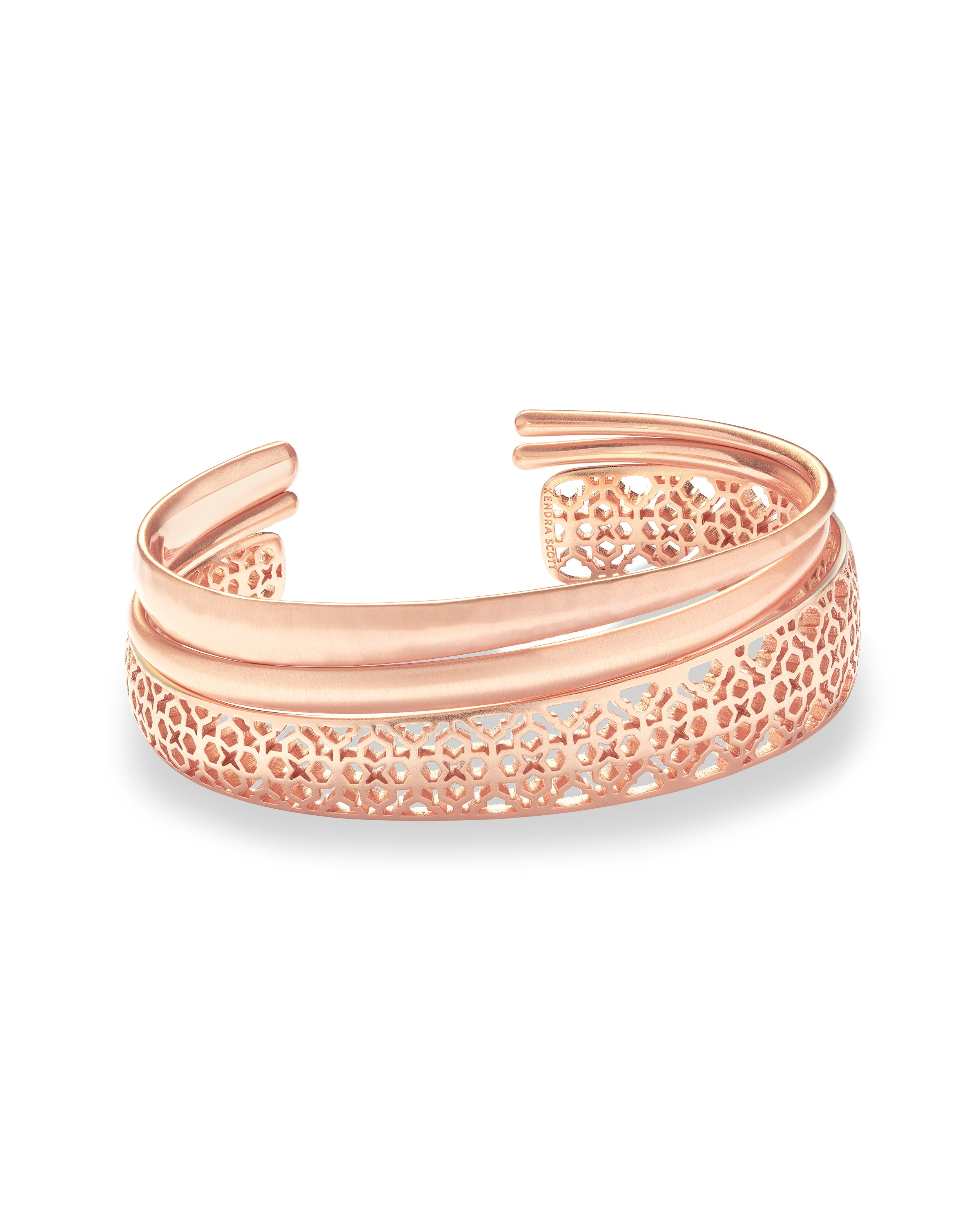 Kendra Scott Tiana Pinch Bracelet Set In Rose Gold Filigree