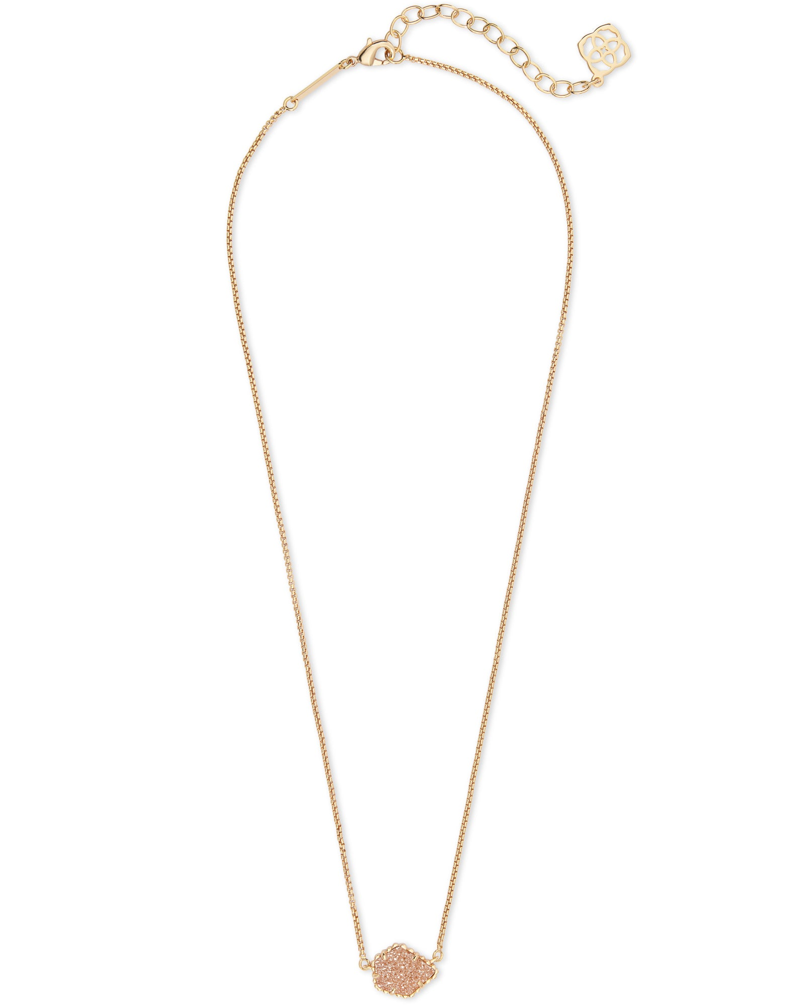 Kendra Scott Tess Gold Pendant Necklace In Sand Drusy