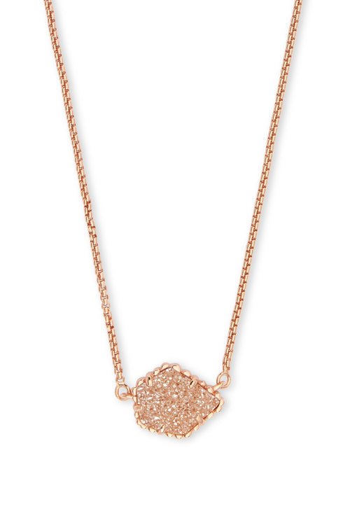 Kendra Scott Tess Rose Gold Pendant Necklace In Sand Drusy