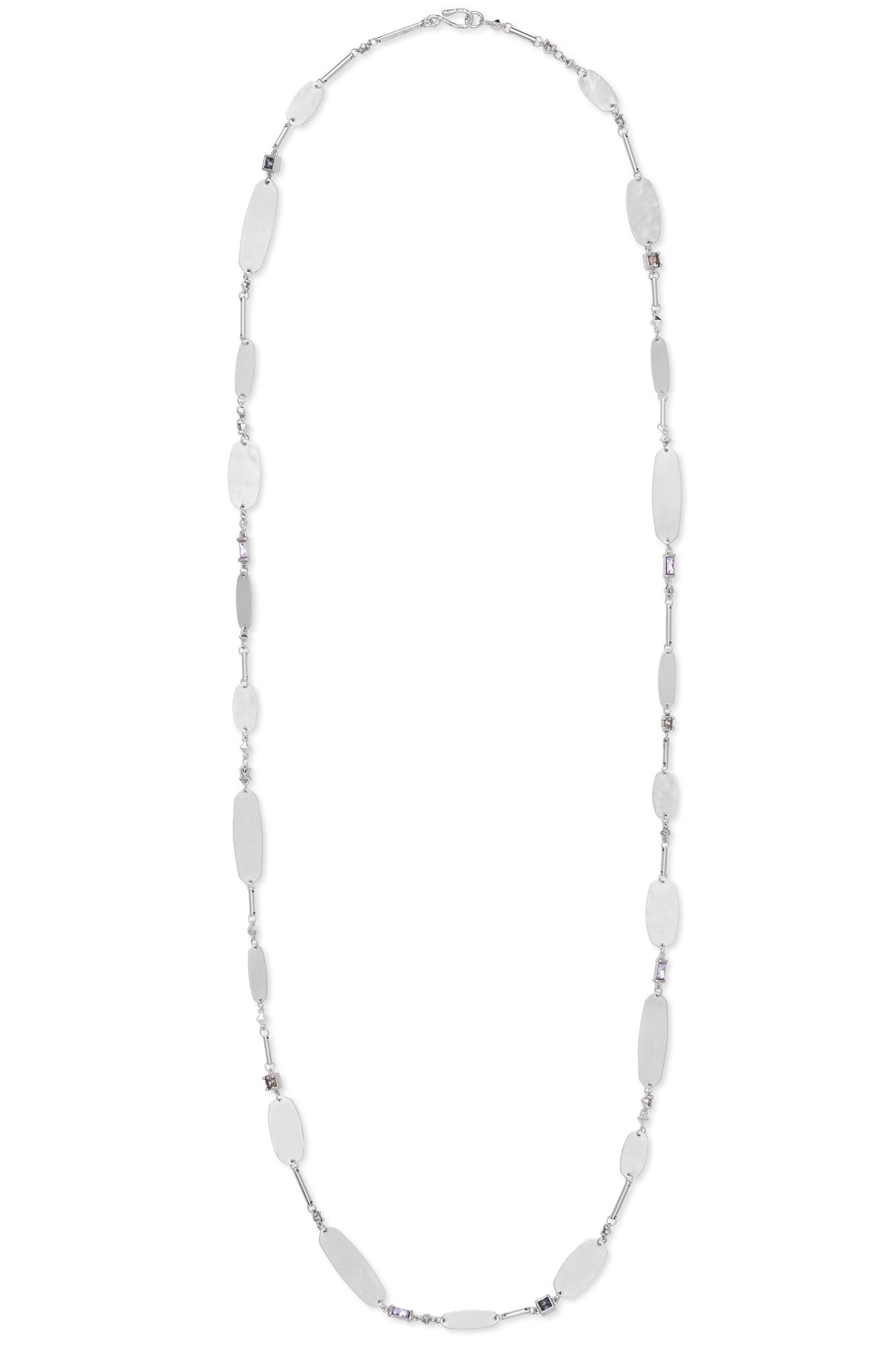 Kendra Scott Claret Silver Long Necklace In Lilac Mix