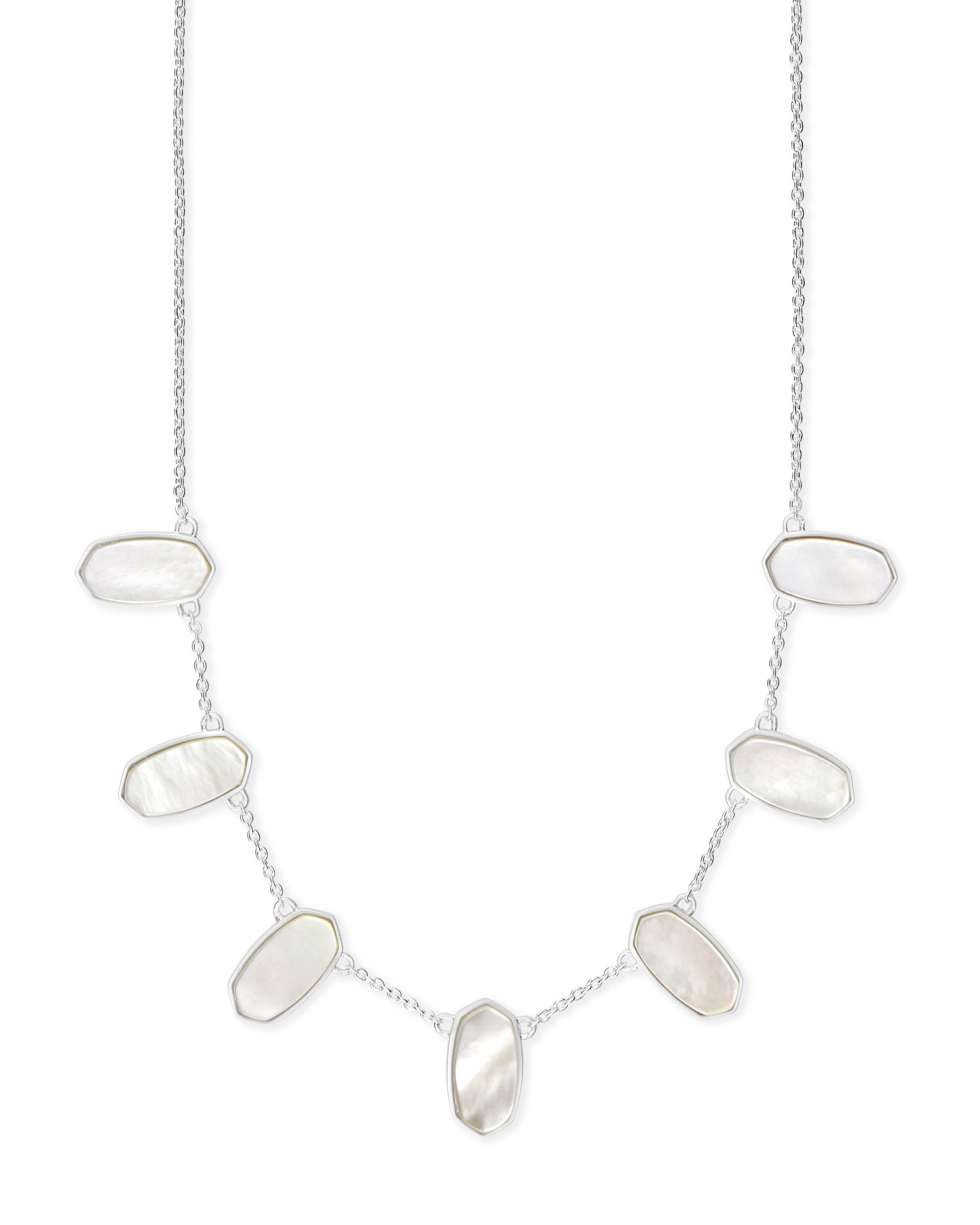Kendra Scott Meadow Bright Silver Statement Necklace In Ivory Pearl