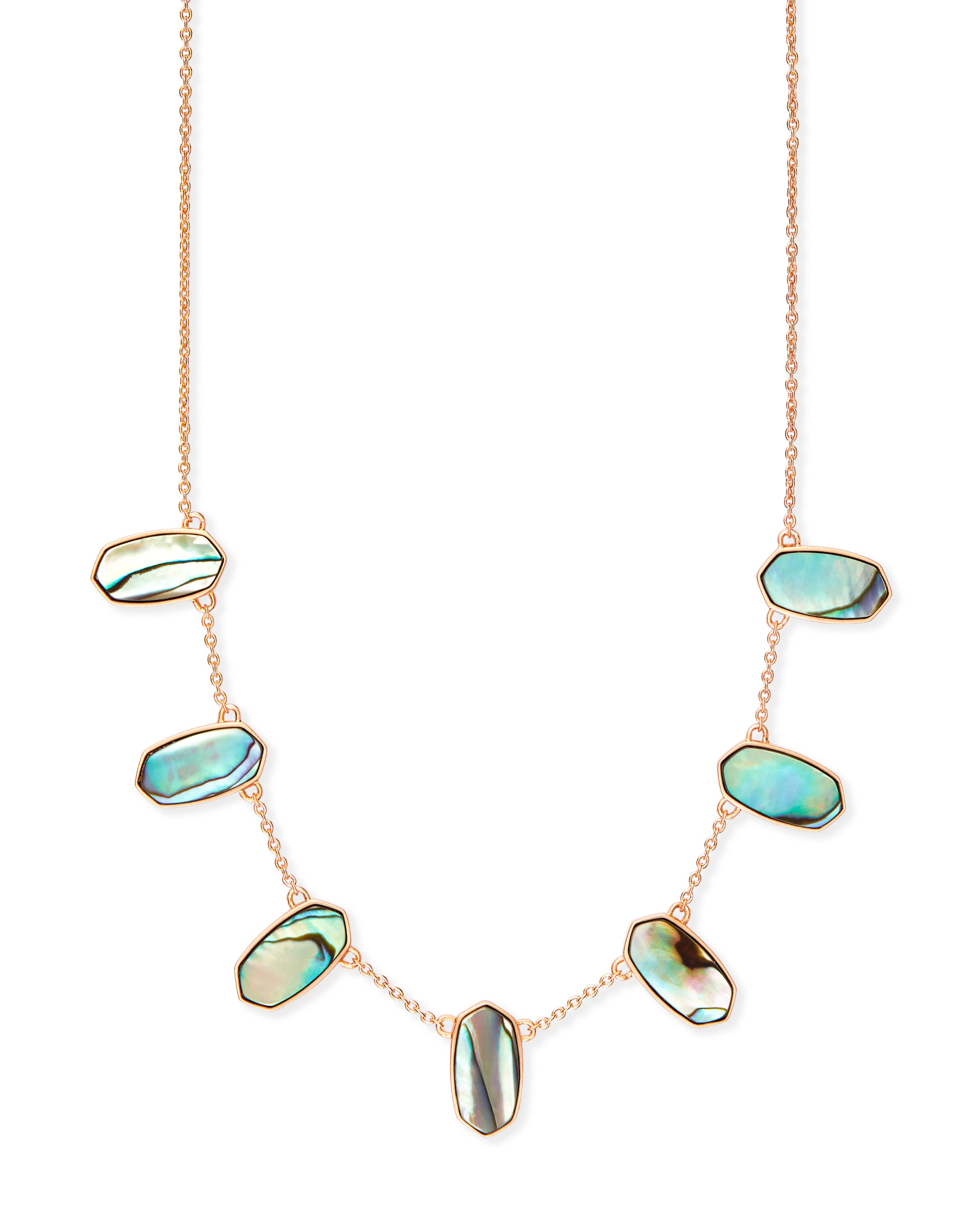 Kendra Scott Meadow Rose Gold Statement Necklace In Abalone Shell
