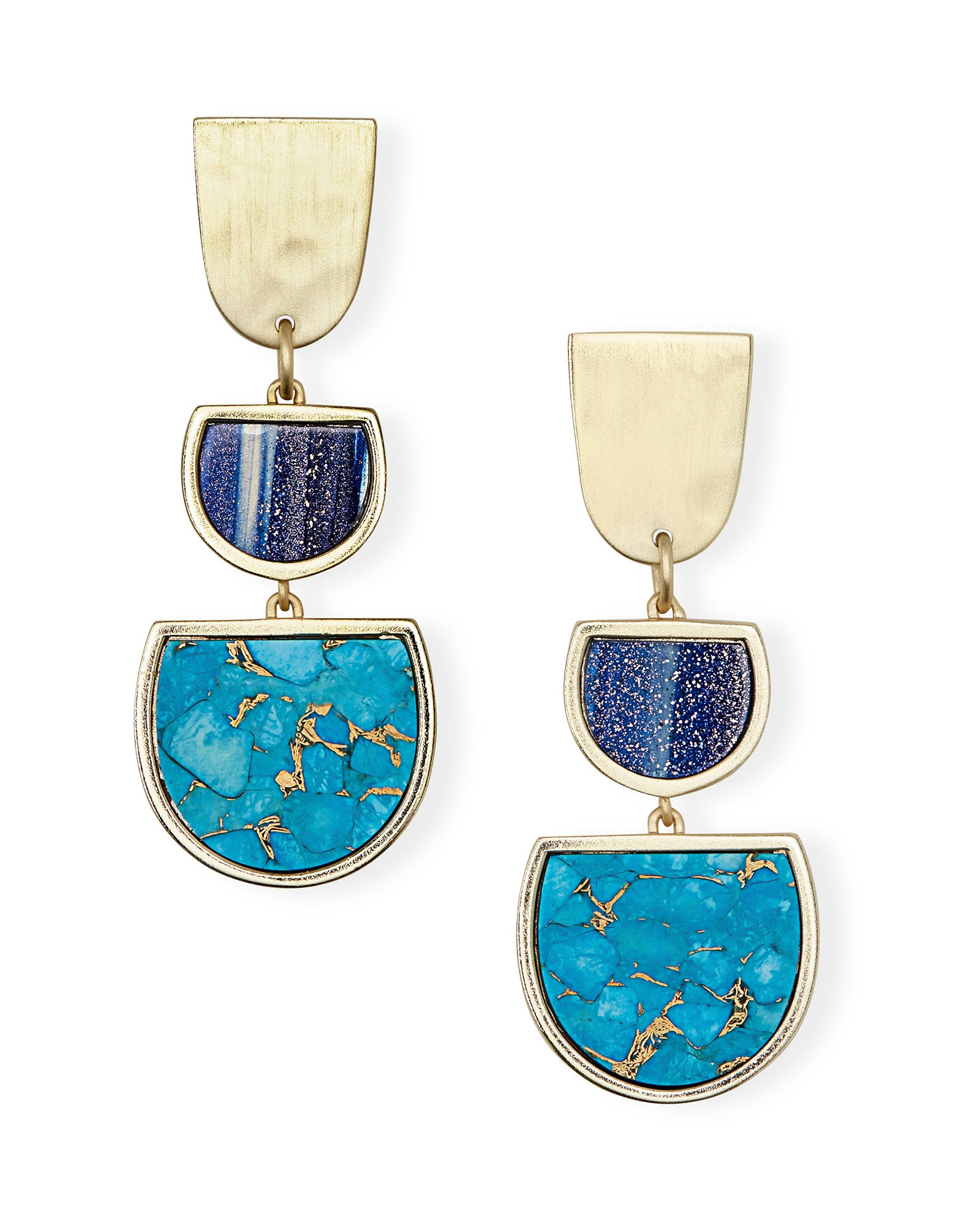Kendra Scott Luna Gold Drop Earrings in Bronze Veined Turquoise