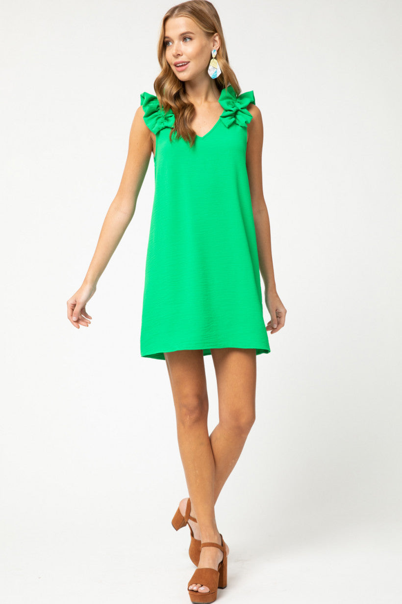 Roselyn Ruffle Shoulder Dress in Green