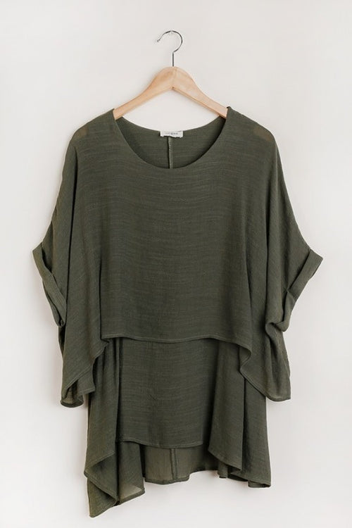 Lucy Layered Tunic Top in Olive