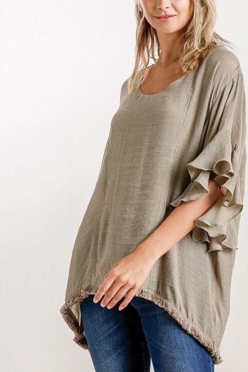 Carla Tunic Top in Taupe