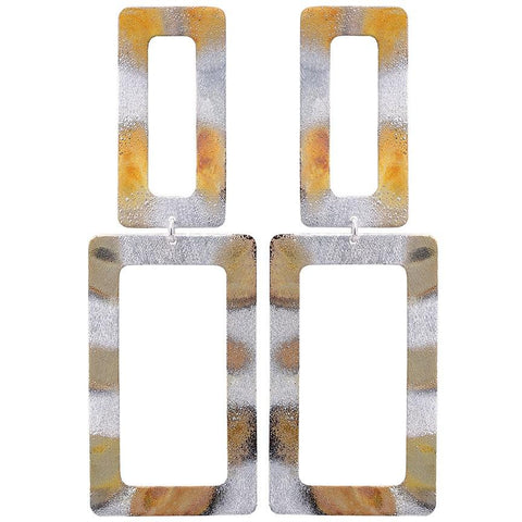Sheila Fajl Double Rectangle Earrings in Burnished Silver