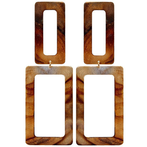 Sheila Fajl Double Rectangle Earrings in Burnished Gold