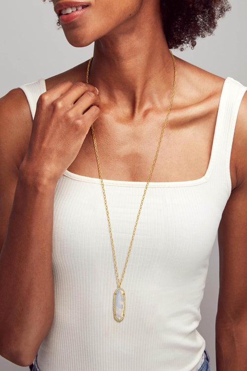 Kendra Scott Layla Gold Long Pendant Necklace In Opalite Illusion