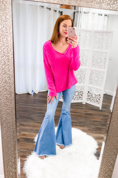 Loving Life V Neck Sweater Top in Hot Pink