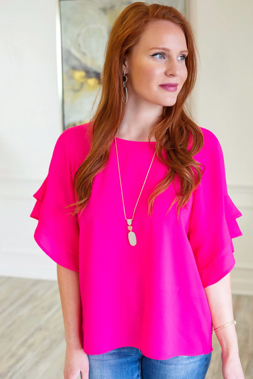 Ann Marie Ruffle Top in Hot Pink